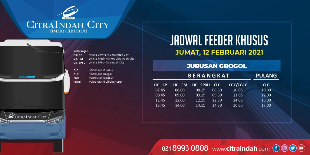 jadwal feeder bus CitraIndah City Jonggol tanggal 11 Maret 2021